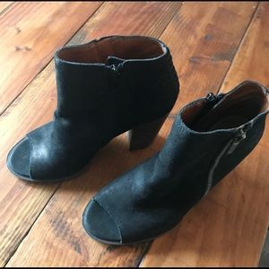 Lucky Brand Black Open Toe Booties size 7.5